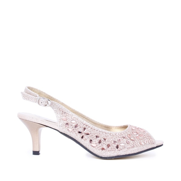 Embellished Low-Heel Peep-Toe Pump