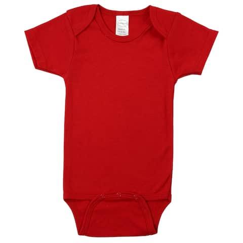 "6"" Red Interlock Short Sleeve Bodysuit Onesies for 0 to 6 Months"