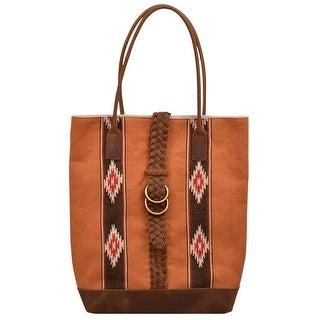 Angel Ranch Western Handbag Women Tote Canvas Braid Pocket Brown HB734 - One size