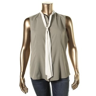 Anne Klein Womens Georgette Mandarin Collar Blouse - 8