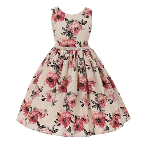 Girls Rose Floral Print Pearl Bead Accented Junior Bridesmaid Dress