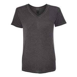 Women's Oasis Wash V-Neck T-Shirt - Dark Smoke - 2XL