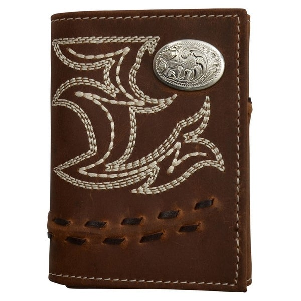 3D Western Wallet Mens Trifold Lacing Protective ID Window Brown - One size