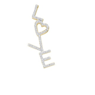 Love Pendant 10K Yellow Gold With Diamonds 0.25Ctw By MidwestJewellery - White