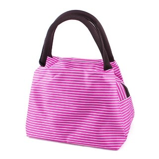 Unique Bargains Fuchsia White Stripes Printed Foldable Shopping Tote Bag Wrist Handbag