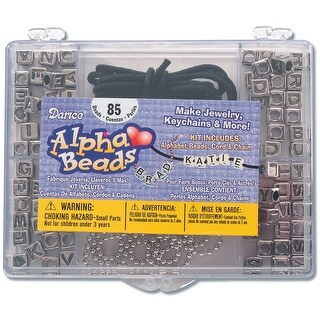 Alphabet Bead Kit-Silver Square W/Black Letters - Black