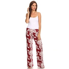 Women's Damask Burgundy Printed Palazzo Pants Made in USA