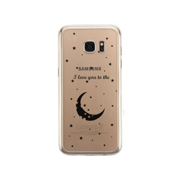 Samsung Galaxy S7 Transparent Matching Phone Cover (Moon & Back Left)