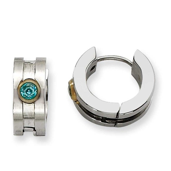 Chisel Stainless Steel Teal CZ Stone & Gold Plated Hinged Hoop Earrings