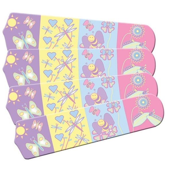 Pastel Butterfly and Friends Designer 42in Ceiling Fan Blades Set - Multi