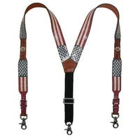3 D Belt Company Men's Leather Distressed American Flag Clip End Suspenders