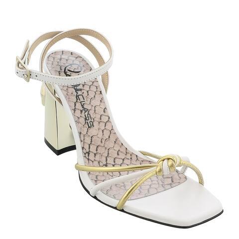 Roberto Cavalli Class White/Gold Block Heel Leather High Heel Sandal-
