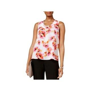 Kasper Womens Petites Blouse Floral Print Sleeveless
