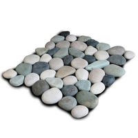 Miseno MT-P3PGBT Pebble Natural Stone Mosaic Tile (10.12 SF / Carton) - green / black / tan / white - N/A