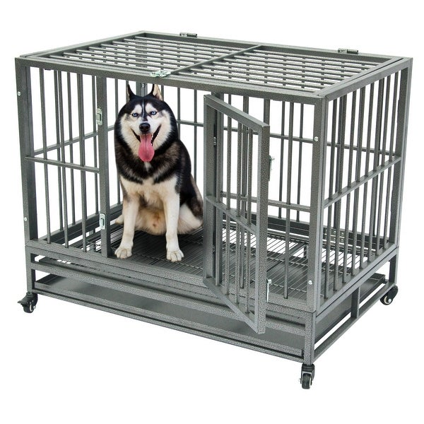 """42""""Dog Cage Crate Kennel Metal Pet Playpen Portable with Tray. Opens flyout."""