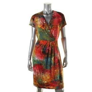 Ellen Tracy Womens Matte Jersey Printed Wear to Work Dress - 6