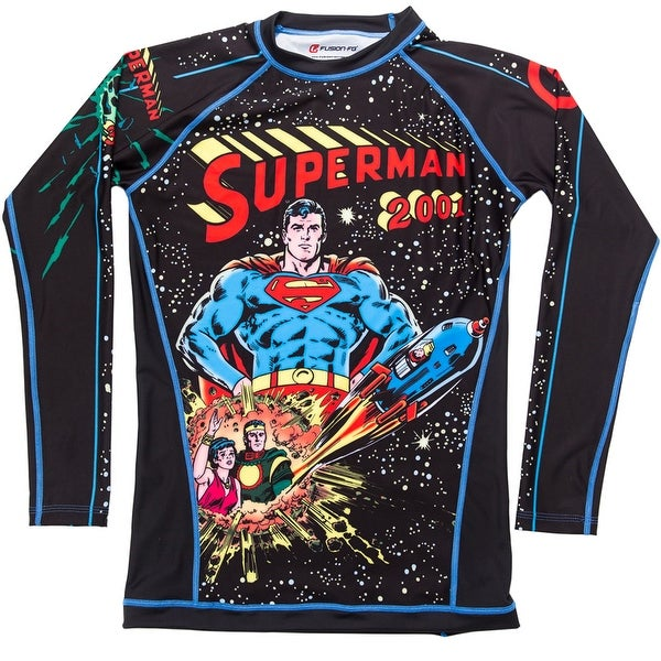 Black Fusion Fight Gear Superman 2001 Comic Cover Long Sleeve Rashguard