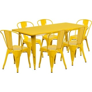 Brimmes 7pcs Rectangular 31.5'' x 63'' Yellow Metal Table w/6 Stack Chairs