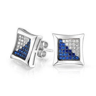 Bling Jewelry Blue CZ Micropave Square Studs Silver
