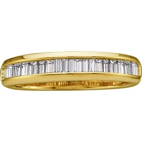 14kt Yellow Gold Womens Baguette Natural Diamond Band Wedding Anniversary Ring 1/2 Cttw - White