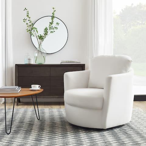 Art Leon Modern Comfortable Corduroy Fabric Swivel Barrel Accent Chair