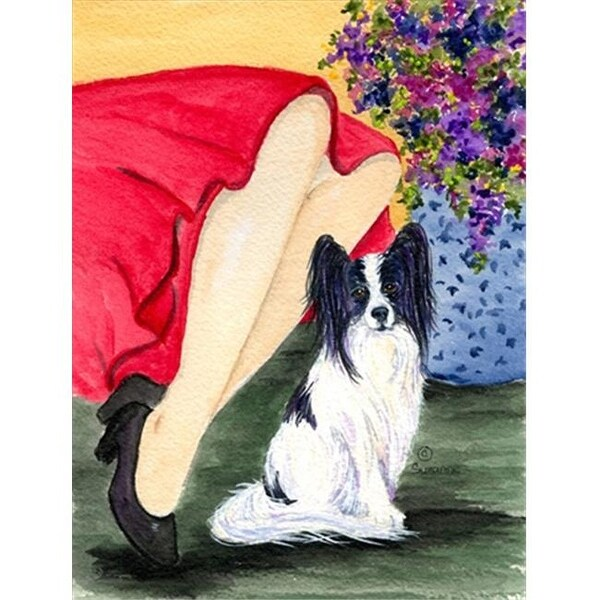Lady with her Papillon Canvas Flag - House Size, 28 x 40 in