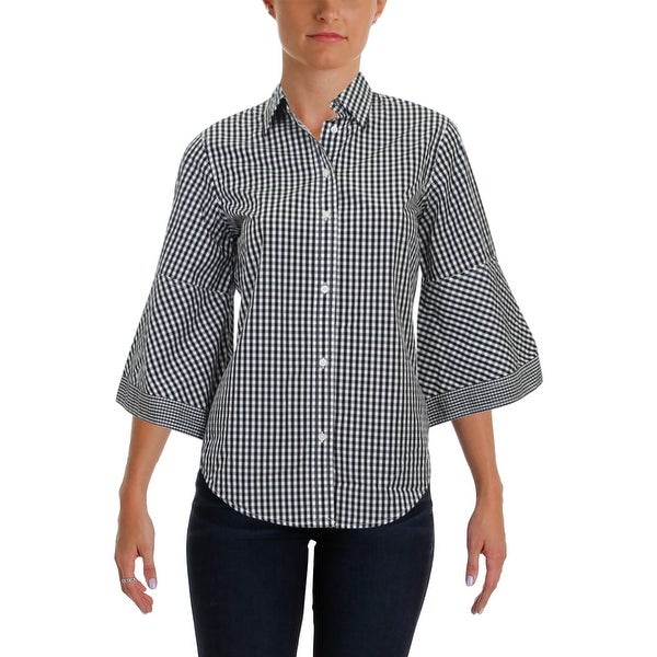 Lauren Ralph Lauren Womens Veytrina Button-Down Top Gingham Bell Sleeves