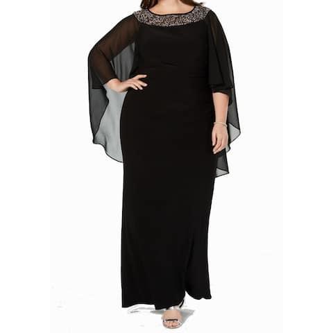 Xscape Women's Dress Black Size 20W Plus Embellished Chiffon Gown