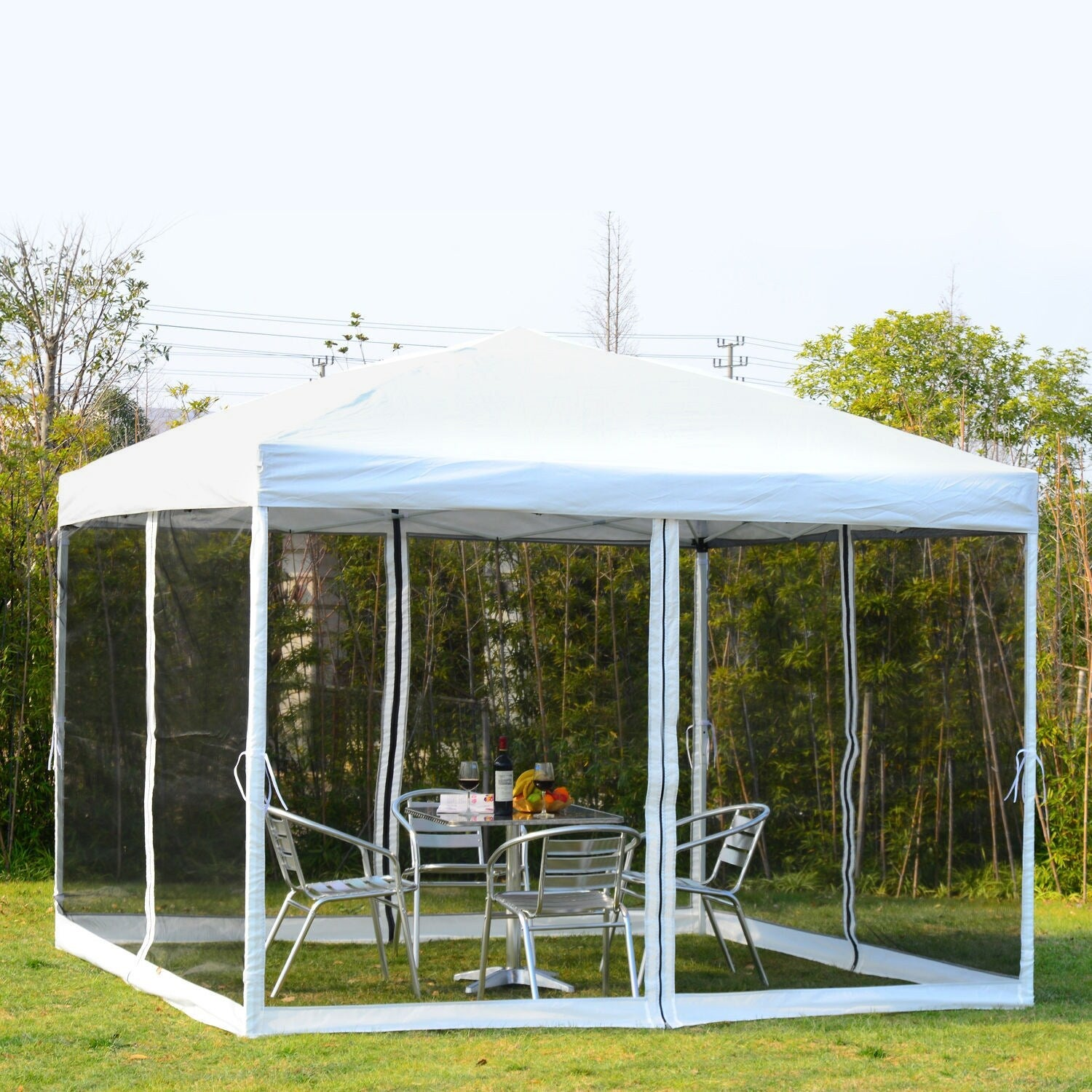 Outsunny 10 X 10 Backyard Pop Up Canopy Shade Tent Overstock 18004812