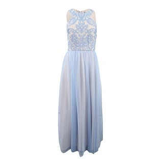 Nightway Women's Sparkle-Embellished & Tulle Gown (8, Ice Blue/Nude) - Ice Blue/Nude - 8