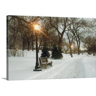 Premium Thick-Wrap Canvas entitled Bench with streetlamp near snow-covered road, Lake Como Park, Saint Paul, Minnesota