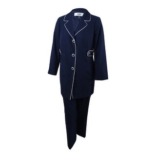 Le Suit Women's Petites Piping-Trim Pantsuit - Navy/Vanilla Ice