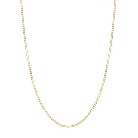 14K Yellow Gold Box Chain Necklace 0.6mm, 16-20""