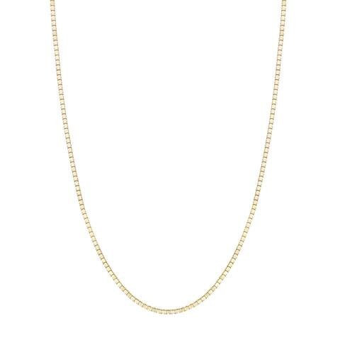 14K Yellow Gold Box Chain Necklace 0.8mm, 16-20""