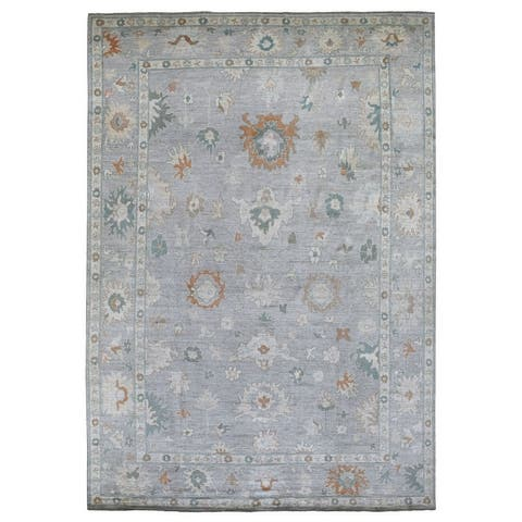 """Shahbanu Rugs Hand Knotted Pure Velvety Wool Light Gray With Floral Motifs Oushak Oriental Rug (9'10"""" x 14'1"""") - 9'10"""" x 14'1"""""""