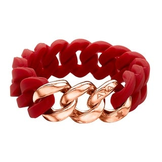 Silix by Aya Red Silicon Bracelet with 18K Rose Gold-Plated Stainless Steel - Pink