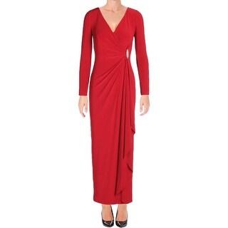 Lauren Ralph Lauren Womens Petites Pascha Evening Dress Pullover Jeweled Detail