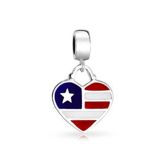 Bling Jewelry American Flag Heart Shaped Dangle Bead Charm .925 Sterling Silver