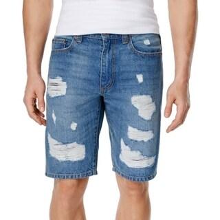 American Rag NEW Blue Mens Size 28 Denim Distressed Slim Fit Shorts