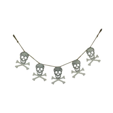 Galvanized Metal Skull and Bones Halloween Garland Hanging Holiday Decoration - 8.75 X 57 X 0.25 inches