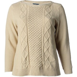 Karen Scott Womens Plus Metallic Pointelle Pullover Sweater