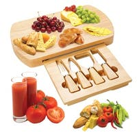 Costway 5 PC Wood Cheese Board Knife Set 4 Stainless Steel Knife Slide Out Cutting Board - as pic