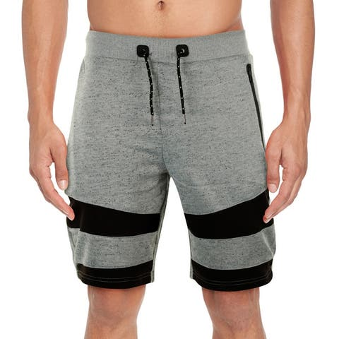 Men's Marled Color Block French Terry Shorts With Drawstring & Zippered Pockets (S-2X)
