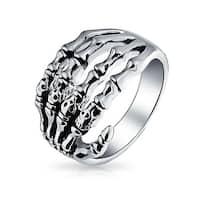 Bling Jewelry Stainless Steel Gothic Biker Mens Skeleton Hand Skull Ring