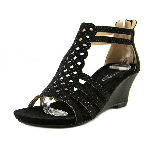 Patrizia By Spring Step SageBrush Women Open Toe Synthetic Black Wedge Sandal