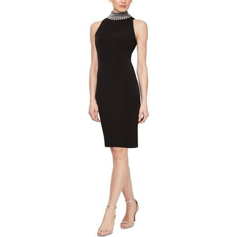 SLNY Womens Cocktail Dress Embellished Sleeveless - Black