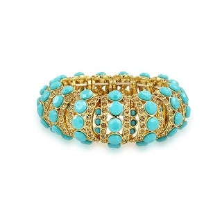 Bling Jewelry Gold Plated Blue Crystal Stretch Bracelet