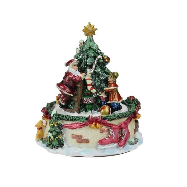 "6"" Animated Santa Claus and Christmas Tree Winter Scene Rotating Music Box - green"