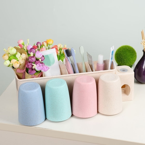 Shop Toothbrush Holder Wall Mounted With Sticker For Couple Bathroom Organizer Overstock 28386695