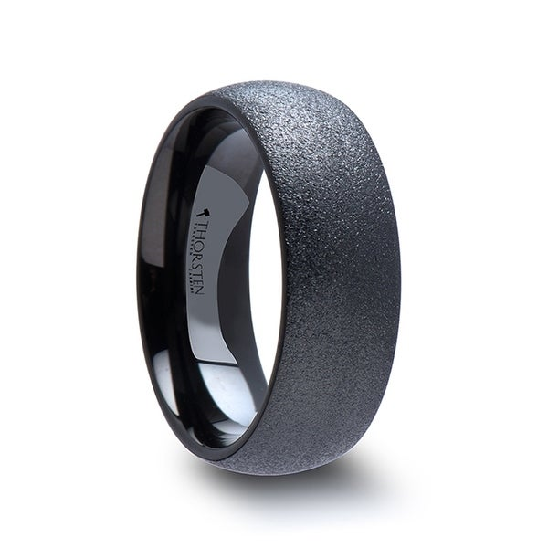 THORSTEN - OBSIDIAN Domed Black Tungsten Carbide Ring with Sandblasted Crystalline Finish